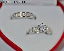 Round Cut 2.6CT Engagement & Wedding Engagement Rings Silver Made in Italy Solid