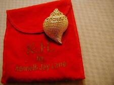 KENNETH JAY LANE TEXTURED AND CRYSTAL CONCH SHELL PIN/PENDANT