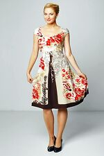 DRESS CASUAL STRETCH ASYMMETRIC NATURAL SUMMER FLORAL MADE IN EUROPE 12 14 16