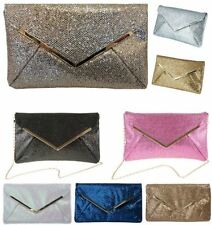NEW LADIES SHIMMER GLITTER BRIDAL PARTY EVENING PROM ENVELOPE CLUTCH BAG