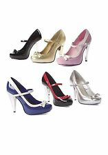 4.5 Inch Maryjane Women'S Size Shoe With Contrasting Bow And Chrome Heel