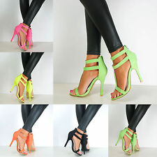 Ladies Barely There High Stiletto Heel Ankle Strappy Cuff Open Toe Sandal Shoes
