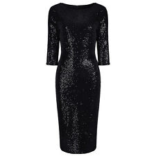 PRETTY KITTY Black Velour Sequin Wiggle Bodycon Pencil Party Cocktail Dress