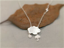 925 Sterling Silver Cloud Rain Drop Lightning Necklace Pendant in Gift Bag Box
