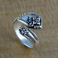 Victorian Flower Spoon Ring - 925 Sterling Silver - Adjustable Sizes 6-10 NEW