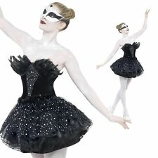 Gothic Masquerade Black Swan Costume  Fancy Dress Womens Halloween Outfit New