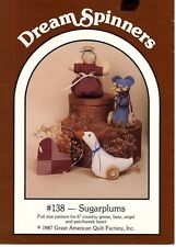 "Dream Spinners~Sugarplums~ 6"" Goose, Bear, Angel, Patchwork Heart Uncut Patterns"