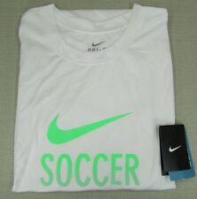 "NIKE Men's DRI-FIT ""Soccer"" Athletic Performance T-Shirt White XL, 2XL NEW NWT"