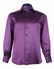 Stefano Ricci Men's Purple Patterned Silk Woven Dress Shirt,size 38,40,41,42,43