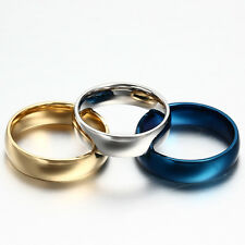 6mm Stainless Steel Ring Men/Women's Wedding Band Gold Silver Blue 7# 8# 9# 10#