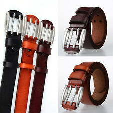 New Genuine Leather Belts Alloy Double Pin Buckle Waistband Men's Waist Belts