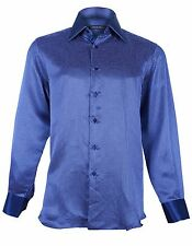 Stefano Ricci Men's Blue Patterned Silk Woven Dress Shirt, size 40,42,43,45,46