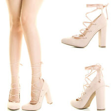 New Nude Criss Cross Wrap Tie Lace Up Strappy Chunky Thick High Heel Pump Sandal