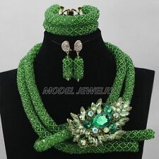 Nigerian Green Costume African Beads Jewelry Set Dubai Wedding Lace Jewelry Set