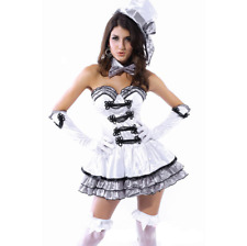 Burlesque Can Can Showgirl French Moulin Rouge White Womens Costume