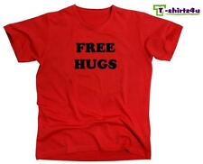 FREE HUGS Funny College Party Pick Up Line Peace Love Nice T-Shirt NEW - Red