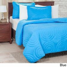 NEW Twin Full Queen King Bed Blue Circles 3 pc Quilt Coverlet Blanket Shams Set