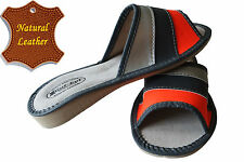 Women's Slippers SCUFF Natural LEATHER Orange Black Silver SIZE US WOMAN 7-10
