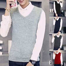 Mens Casual Slim Fit V-Neck Knitted Cardigan Pullover Vests Jumper Sweater Tops