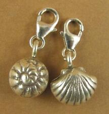 Silver shell clip-on charm. Snail shell /sea shell. Sterling silver 925.