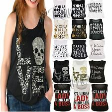 New Womens Ladies Slogan Graphic Printed Sleeveless T Shirt Summer Vest Tank Top