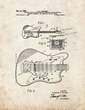 Clarence Fender Electric Guitar Patent Print Old Look