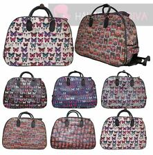 NEW LADIES BUTTERFLY OWL PRINT HOLDALL HANDLE WHEELED LUGGAGE SUITCASE BAG