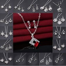 Fashion Wedding Sillver/Gold Crystal Pearl Flower Necklace Earrings Jewelry Sets