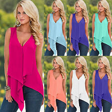 Sexy Womens Sleeveless Chiffon V Neck Tank Top Ladies Summer Vest Shirt Blouse