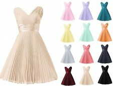 Women's Short Chiffon Prom Dresses Bridesmaid Cocktail Party Evening Sleeveless