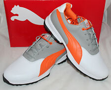 Puma Golf Ace Mens Golf Shoes - White Vibrant Orange Drizzle Gray - New for 2016