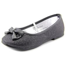 Rugged Bear Glitter Bow Flat Youth  Round Toe Synthetic Black Ballet Flats