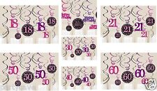 12 PINK BLACK SPARKLY PARTY HANGING SWIRLS 18TH 21ST 30TH 40TH 50 DECORATION