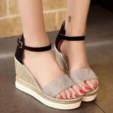 New Womens Ladies Girls Summer Wedge High Platform Sandals Chunky Party Shoes