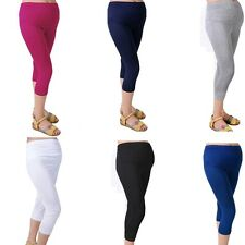 Solid Maternity Comfortable 7 Pant Capris Cotton Elastic Pregnant Women Leggings
