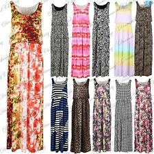 Womens Summer Printed Toga Maxi Vest Ladies Puff Ball Flared Ballon Maxi Dress