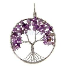 Amethyst Peridot Rose Rock Quartz Stone Wire Wrap Gemstone Tree of Life Pendant