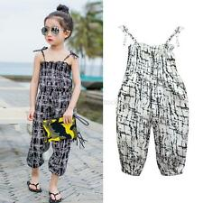 Summer Kids Girls Strap Romper Casual Jumpsuit Beach Pants Trousers Outfit 2-7Y