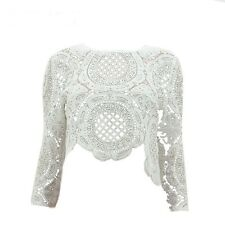 Womens White Scallop Lace Celeb Style Long sleeve Crop Top