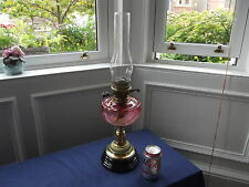 "Stunning Antique Cranberry Glass Oil Lamp, WORKING, Sun lamp Works, 23"" tall VGC"