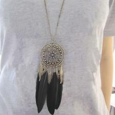 Vintage Charm BOHO Feather Leaf Tassel Bronze Plated Pendant Long Chain Necklace