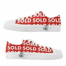 Custom Red Sold Real Estate Canvas Lace Up Men's Shoes Sneakers Sz 8 thru 13