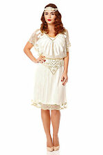 Angel Sleeve 20s Vintage Inspired Flapper Wedding Plus size Dress in White
