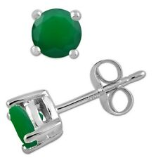925 Sterling Pure Solid Silver Stud with Natural Green Onyx Round Cut Earring