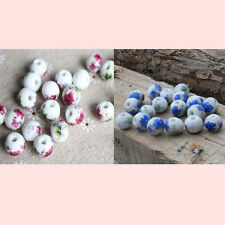 "Three Color! ""Handmade"" Flower Ceramic Porcelain Round Spacer Loose Beads"