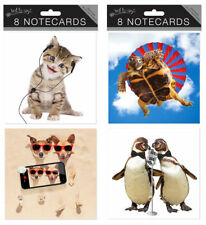 JUST TO SAY PACK OF 8 BLANK NOTECARDS NOTELET- TORTOISE PENGUINS OR KITTENS PUPS