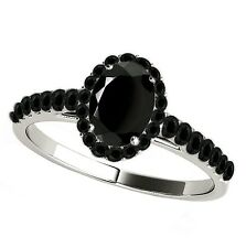 925 Pure Sterling Silver Ring Natural Black Spinel 6x4mm Oval Cut Gemstone Ring