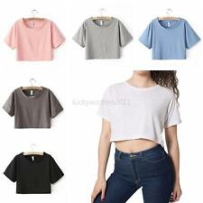 6 Colors Women's Summer Round Neck T-shirt Short Sleeve Shirt Casual Crop Tops