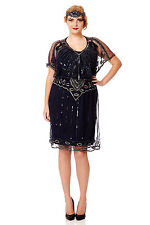Angel Sleeve Vintage 20s Inspired Flapper Dress in Navy Plus Size Bridesmaids