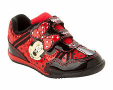 GIRLS OFFICIAL DISNEY MINNIE MOUSE RED BLACK GLITTER TRAINERS SHOES UK SIZE 6-12